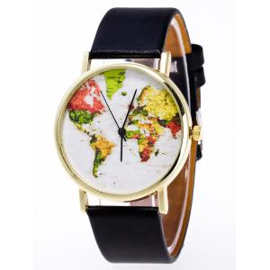 Faux Leather Watch with World Map - Black