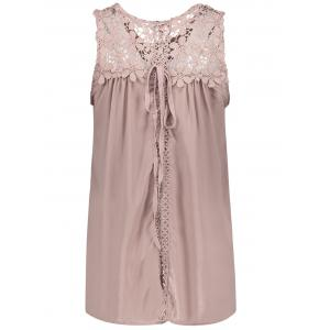 Sleeveless Lace Insert Criss Cross Chiffon Blouse - PALE PINKISH GREY S
