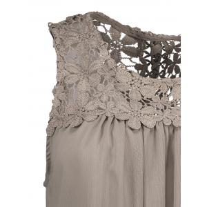 Sleeveless Lace Insert Criss Cross Chiffon Blouse -