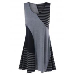 Pinstripe Trim Sleeveless Longline T-Shirt - Black And Grey - M