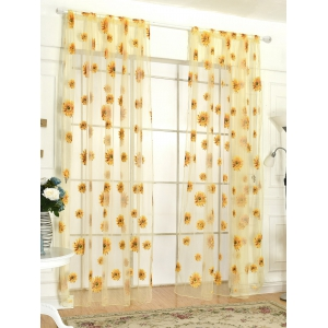 Sunflower Print Fabric Tulle Window Curtain - Yellow - 100*200cm