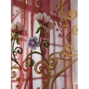Flower Embroider Voile Sheer Window Curtain -