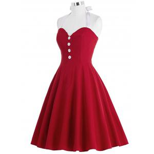 Cocktail Halter Backless Mini Pin Up Dress - RED M