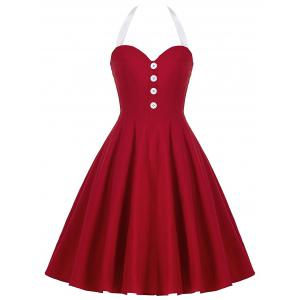 Cocktail Halter Backless Mini Pin Up Dress - Red - 2xl