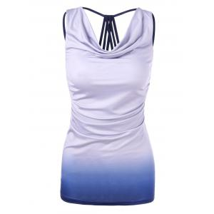 Ombre Cowl Neck Fitted Tank Top - Light Purple - Xl