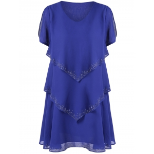 Rhinestone Tiered Chiffon Casual Dress