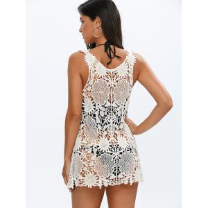 Plunge Neck Crochet Lace Cover Up Dress - OFF WHITE ONE SIZE