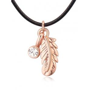 Faux Leather Rope Rhinestone Feather Necklace