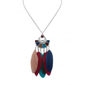 Geometric Circle Feather Necklace