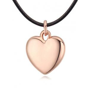 Faux Leather Rope Heart Necklace - Rose Gold