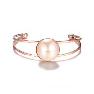 Embellished Faux Pearl Cuff Bracelet - Rose Gold - One-size