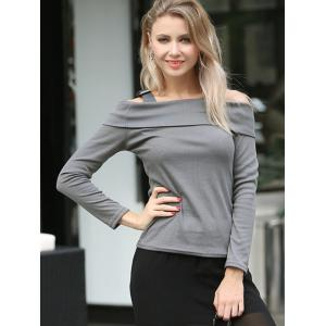 Cold Shoulder Long Sleeves T-Shirt -