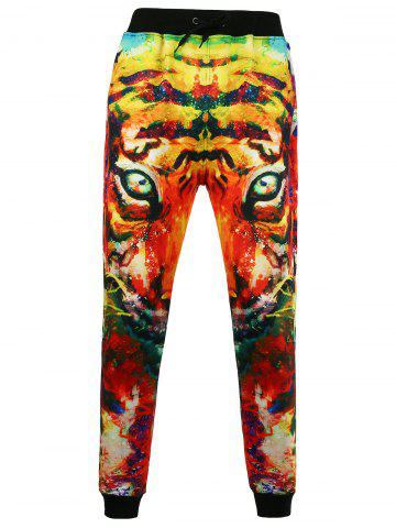 Trendy 3D Tiger Printed Jogger Pants - L COLORMIX Mobile