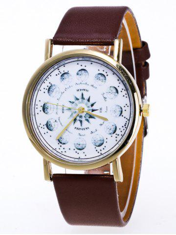 Latest Faux Leather Planet Pattern Watch BROWN
