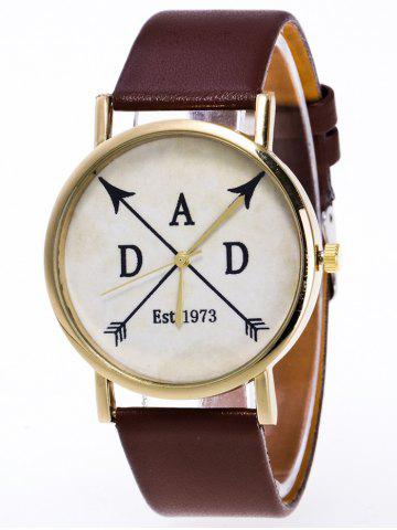 Cheap Faux Leather Arrow Analog Watch BROWN