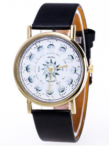 Outfit Faux Leather Planet Pattern Watch BLACK