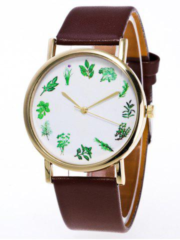 Hot Faux Leather Flower Plant Pattern Watch