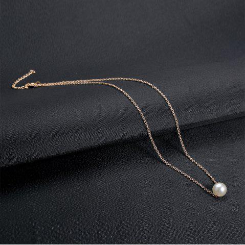 Chic Fake Pearl Pendant Necklace - GOLDEN  Mobile