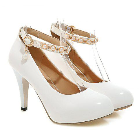 Discount Faux Pearls Ankle Strap Pumps WHITE 39