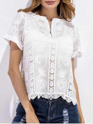 Chic Scalloped Crochet Embroidered Blouse WHITE ONE SIZE