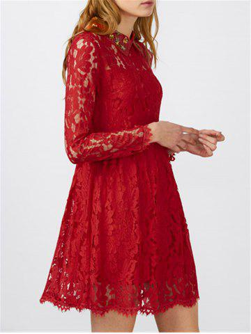 Flat Collar Lace Mini Robe patineuse Rouge M