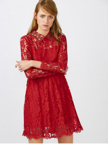 Affordable Flat Collar Lace Club Mini Short Prom Skater Dress - L RED Mobile