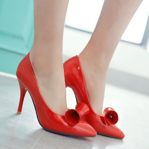 Buy Pointed Toe Patent Leather Pumps - Red 39