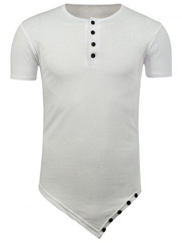 Online Half Button Asymmetric Tee - 2XL WHITE Mobile