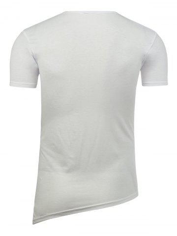 Discount Half Button Asymmetric Tee - 2XL WHITE Mobile