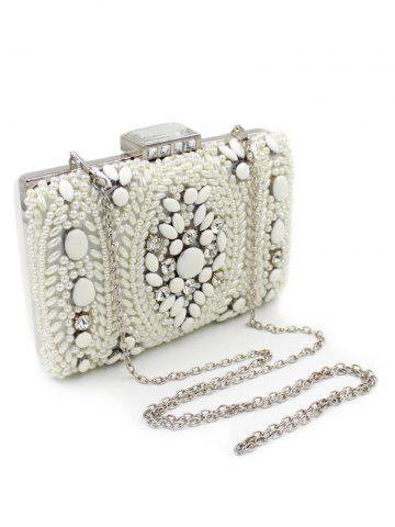 Store Metal Trimed Beaded Bags - WHITE  Mobile