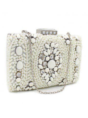 Fancy Metal Trimed Beaded Bags - WHITE  Mobile