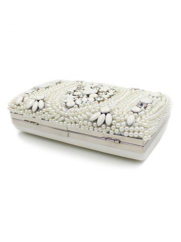 Discount Metal Trimed Beaded Bags - WHITE  Mobile