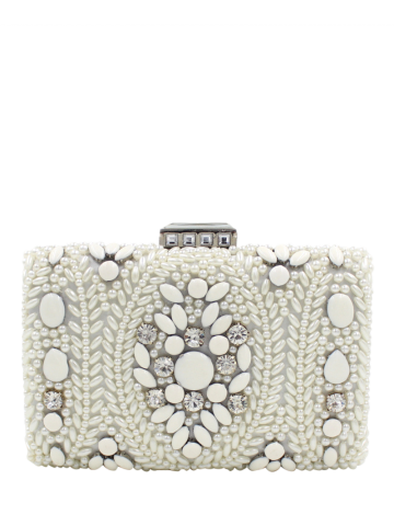 Affordable Metal Trimed Beaded Bags - WHITE  Mobile
