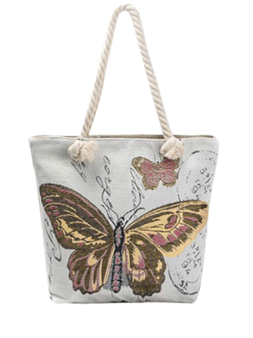 Buy Butterfly Printed Canvas Shoulder Bag