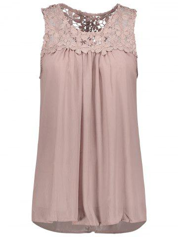 Discount Sleeveless Lace Insert Criss Cross Chiffon Blouse PALE PINKISH GREY S