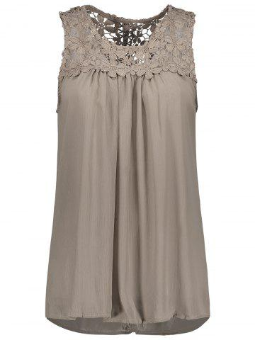 Outfits Sleeveless Lace Insert Criss Cross Chiffon Blouse
