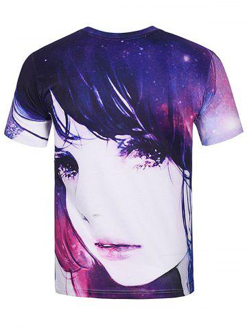 Outfits Crew Neck 3D Galaxy Girl Print T-Shirt - L COLORMIX Mobile