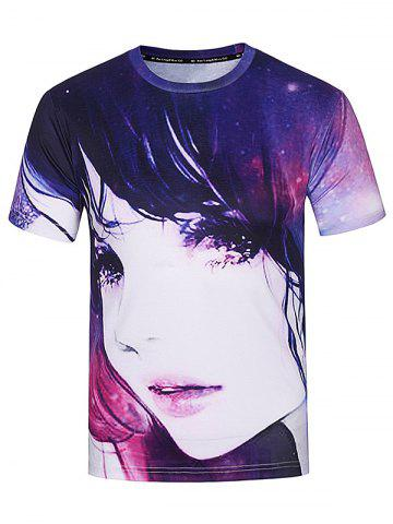 Outfits Crew Neck 3D Galaxy Girl Print T-Shirt - XL COLORMIX Mobile
