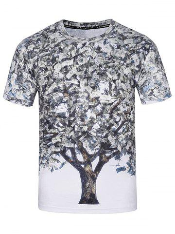 Affordable Crew Neck 3D Dollar Tree Print T-Shirt - XL COLORMIX Mobile