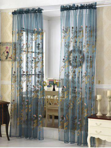 Flower Embroider Voile Sheer Window Curtain - Ice Blue - 100*250cm