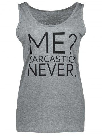 Outfit Casual Me Sarcastic Never Graphic Tank Top GRAY S