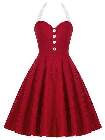 Shops Cocktail Halter Backless Mini Pin Up Dress RED M