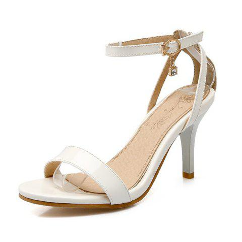Outfit Rhinestone Ankle Strap Sandals - 38 WHITE Mobile