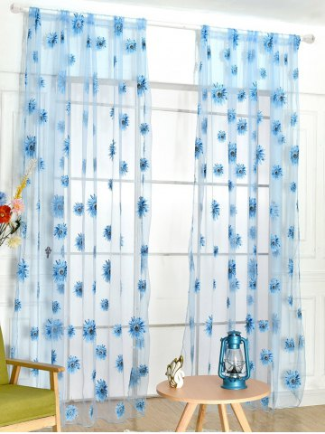 Sunflower Print Fabric Tulle Window Curtain - Lake Blue - 100*200cm