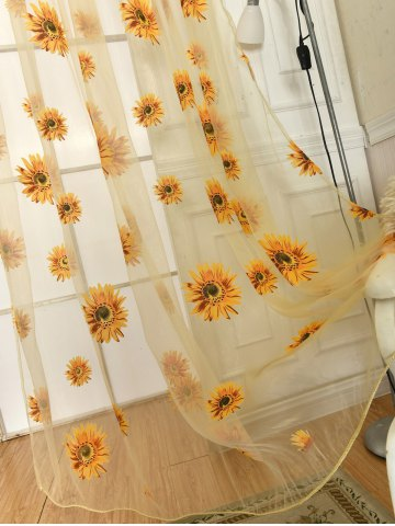 Discount Sunflower Print Fabric Tulle Window Curtain - 100*200CM YELLOW Mobile