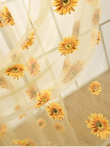 Unique Sunflower Print Fabric Tulle Window Curtain - 100*200CM YELLOW Mobile