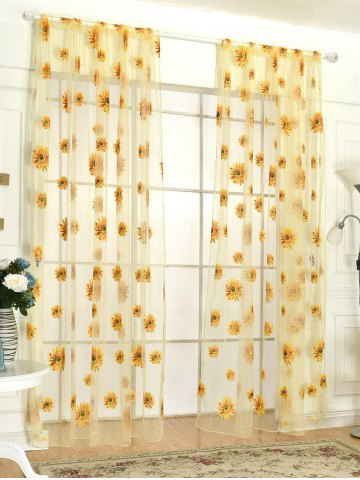 Chic Sunflower Print Fabric Tulle Window Curtain - 100*200CM YELLOW Mobile