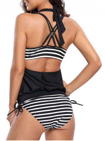 Strappy Padded Bikini Three Piece Swimsuit - Black - Xl