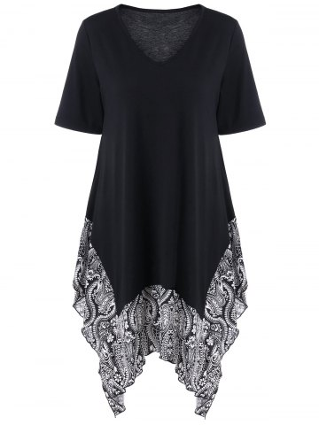 Fashion Plus Size Floral Trim Asymmetrical Longline T-Shirt BLACK 5XL
