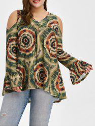 Plus Size Cold Shoulder Long Flare Sleeve Blouse